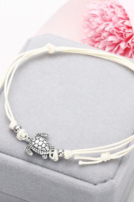Summer Beach Turtle Shaped Charm Rope String Anklets For Women Ankle Bracelet