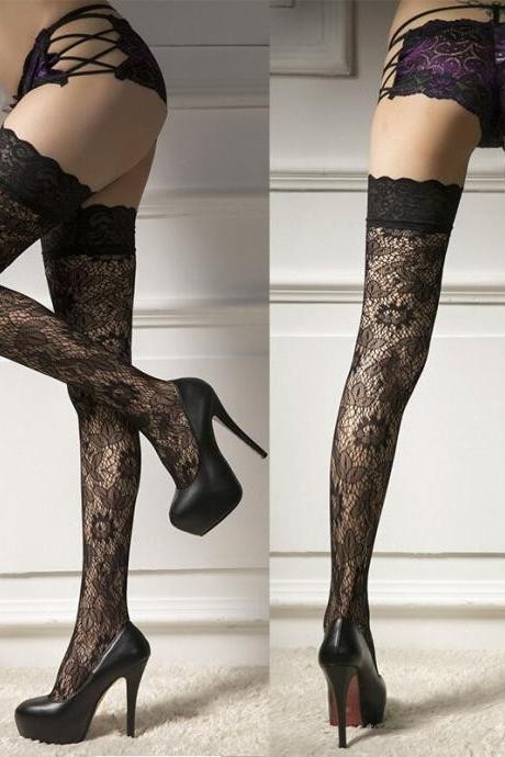Sexy Lingerie for Women Stockings Sex Lace Top Thigh High Stockings