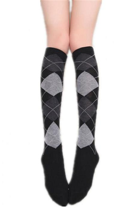 Fashion Diamond Knee Socks Casual Black Grey Plaid Women's Stockings Sexy Casual Knee High Socks Cotton Nylon Female Stockings-1