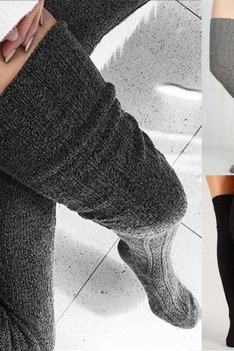 Women Over Knee Socks Fashion Female Sexy Stockings Warm Long Boot Knit