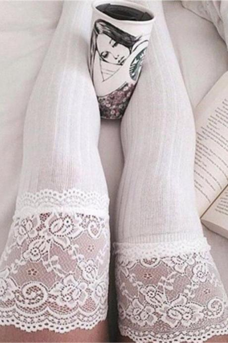 Thigh High Stockings Women Summer Over Knee Socks Sexy Girls Hosiery Nylon Solid White Gray Lace Stay Up Long Stockings Ladies
