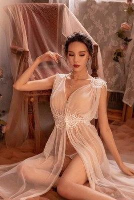 Sexy Lingerie Net Gauze Lace Embroidery Sheer Long Night Dress Nightgowns Sleep wear Nightdress