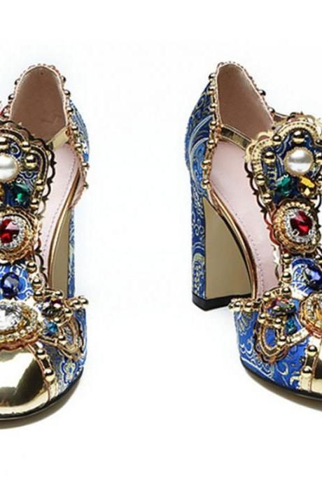 Gorgeous Rhinestone Buckle Close Toe Sandals
