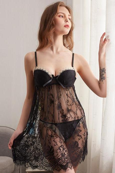 Sexy Lace Night Dress Summer Nightgown Mini Nightwear Bathrobe Women Sleep Dress see through(QQ20062907)