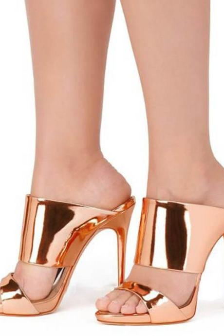 Open Toe High Heel Patent Leather Metallic Sandals