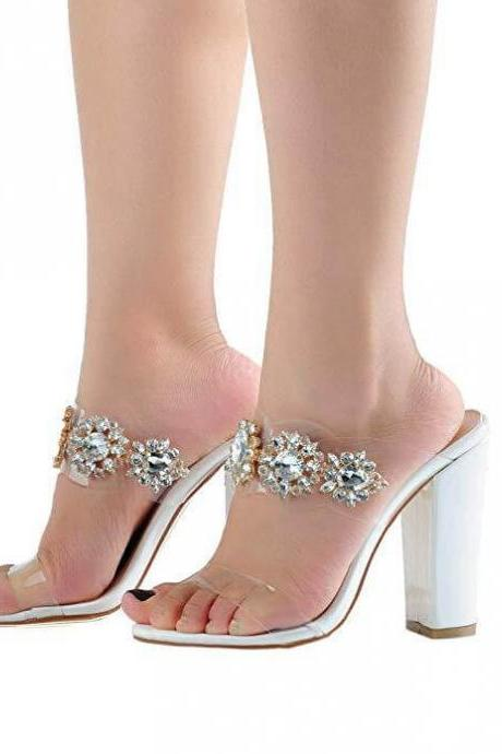 Summer White Rhinestone Chunky Heel Sandals