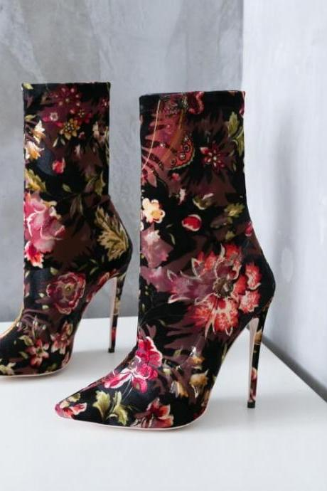 Casual Flower Print Pointed Toe High Heel Ankle Boots