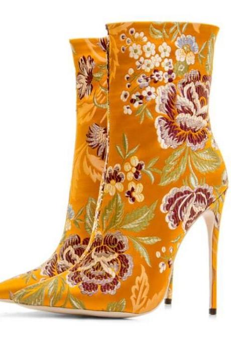 Flower Print Bright Color Pointed Toe High Heel Ankle Boots
