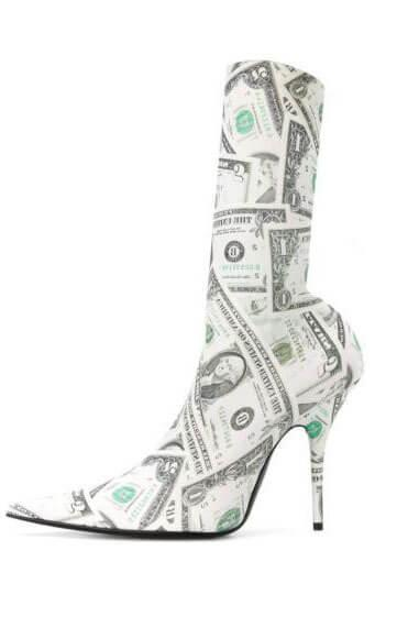 Party White Dollar Print Pointed Toe High Heel Calf Boots