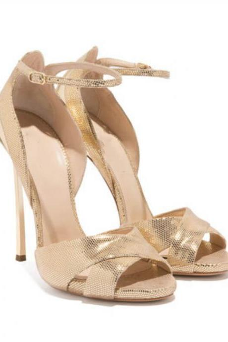Leather Open Toe Metallic High Heel Sandals