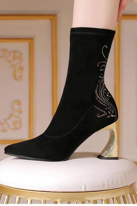 Black Suede Stretch Embroidery Chunky Heel Boots