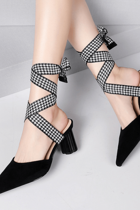 Suede Pointed Toe Strap Plaid Chunky Heel Sandals