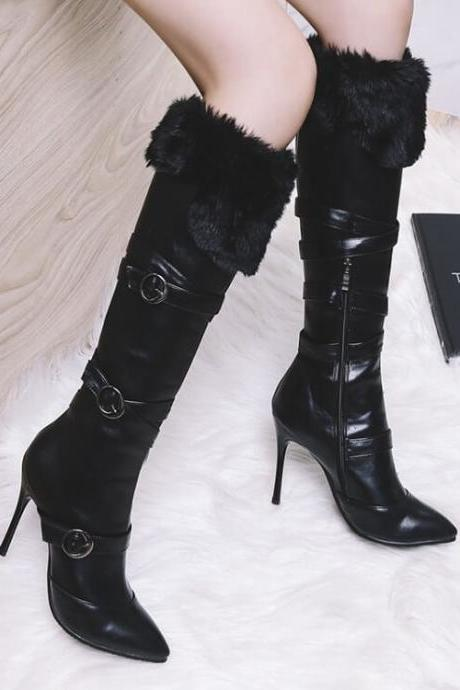 PU Fur Plain Pointed Toe Knee High Boots