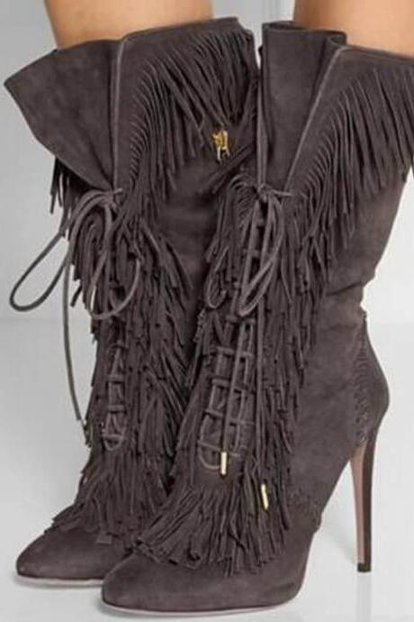 Sexy Gray Suede Fringe Strap Pointed Toe High Heel Boots