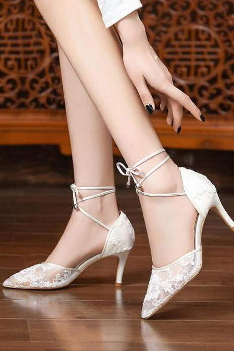Sexy White Lace Pointed Toe Strap High Heel Sandals