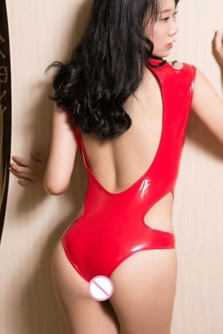 Sexy Women Hollow Out PU Bodysuits High Neck Halter Backless PVC Shiny One Piece Sukumizu High Cut Bandage PVC Thong Bodysuit