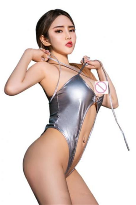 Sexy Womens PU Leather WetLook Bodysuit Exotic Low Bust Sleeveless Halter Leotard High Elastic How Out Thong Leotard Bodysuit-2