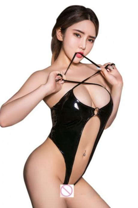 Sexy Womens PU Leather WetLook Bodysuit Exotic Low Bust Sleeveless Halter Leotard High Elastic How Out Thong Leotard Bodysuit-3
