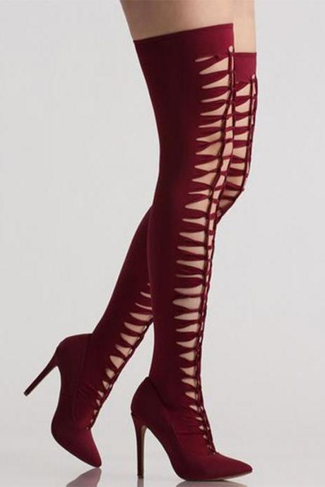Sexy Wine Red Stretch Cutout High Heel Over Knee Boots