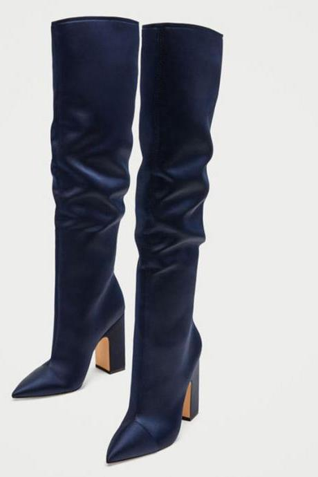 Sexy Pointed Toe Chunky Heel Over Knee Boots
