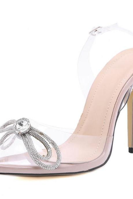 Summer Rhinestone Bow High Heel Pointed Toe Sandals