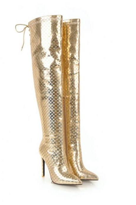Party Patent Leather Point Toe Over Knee Boots