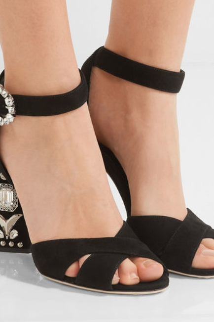 Summer Black Leather Open Toe Rhinestone Chunky Heel Sandals