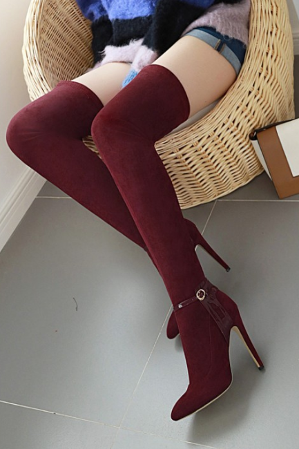 Fashion Suede Point Toe High Heel Over Knee Boots