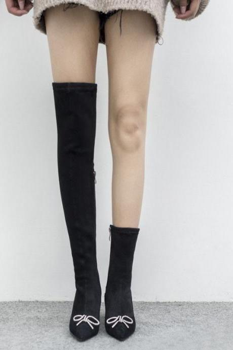 Black Point Toe Zipper High Heel Over Knee Sock Boots