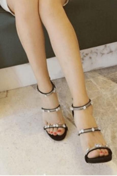Summer Leather Rhinestone Zipper High Heel Sandals