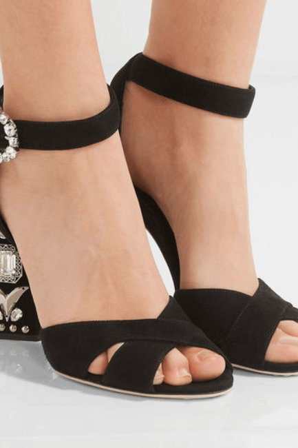 Summer Black Rhinestone Open Toe High Heel Sandals