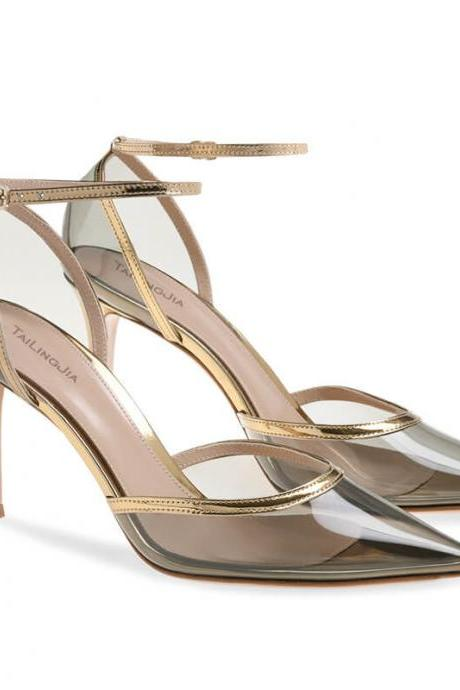 Summer PVC Gray Point Toe Buckle High Heels