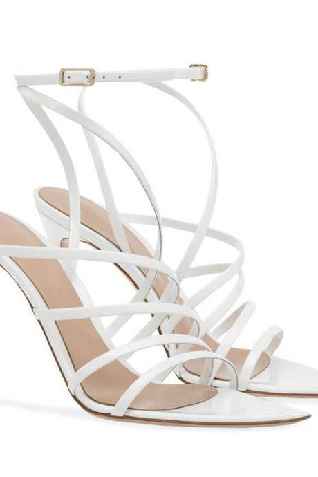 White Summer Patent Leather Point Toe Cutout High Heel Sandals