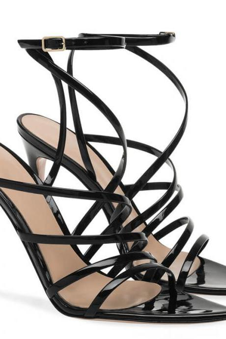 Black Summer Patent Leather Point Toe Cutout High Heel Sandals