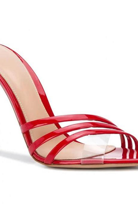 Summer Red Patent Leather Point Toe High Heel Sandals