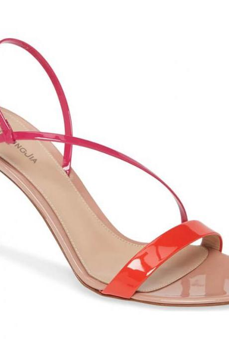 Summer Patent Leather Color Block High Heel Sandals