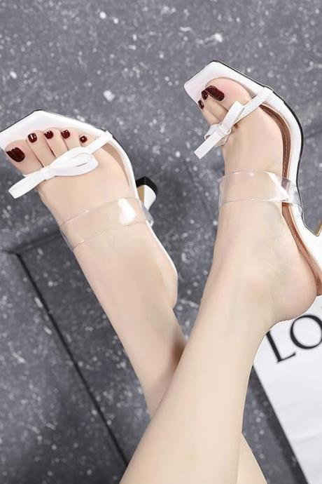 White Bow PU Square Toe High Heel Mule Sandals