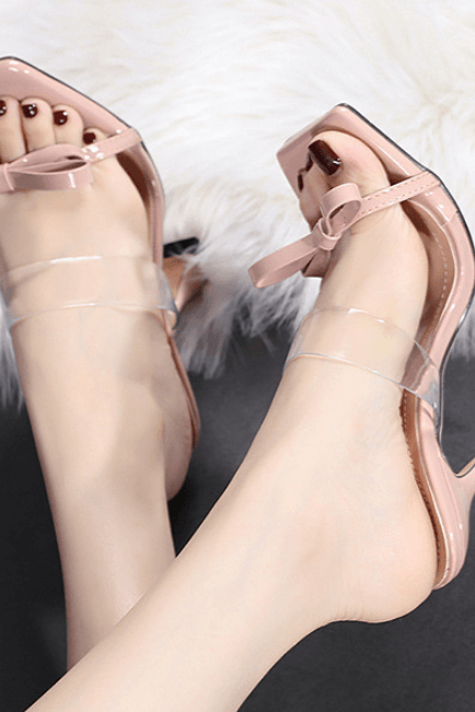 Apricot Bow PU Square Toe High Heel Mule Sandals