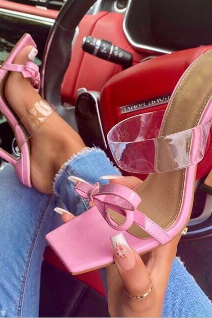 Pink Bow PU Square Toe High Heel Mule Sandals