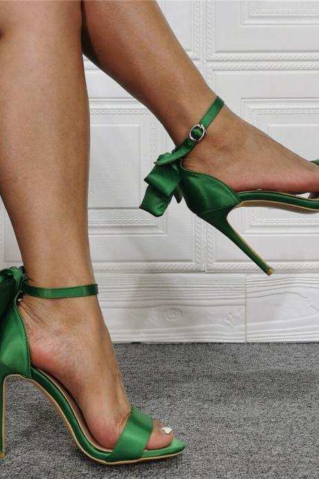 Green Bow Open Toe Silk High Heel Sandals