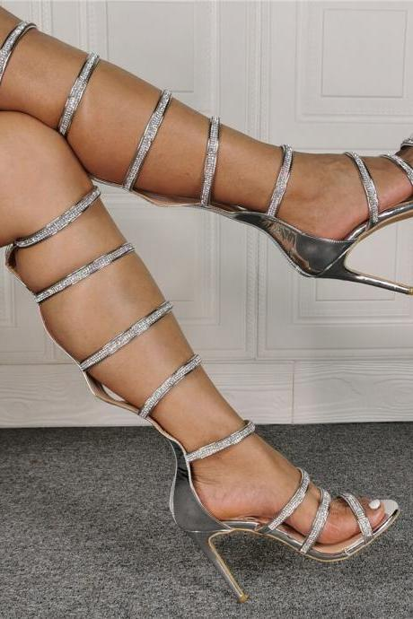 Silver Rhinestone Cutout High Heel Knee High Sandals