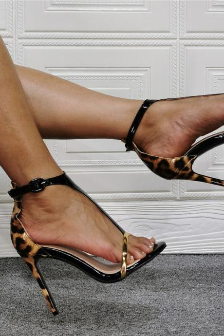 Black Patent Leather Leopard High Heel Sandals