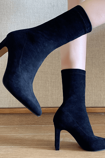 Fashion Suede Point Toe Chunky Heel Calf Boots