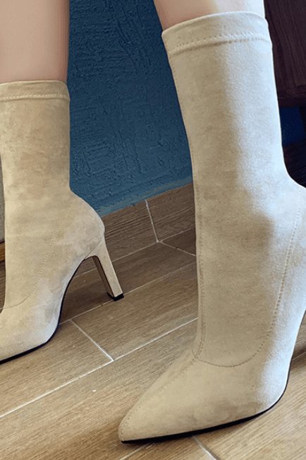 Apricot Fashion Suede Point Toe Chunky Heel Calf Boots