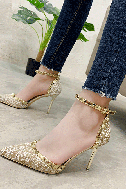 Sexy Champagne Point Toe Rivet Buckle High Heels