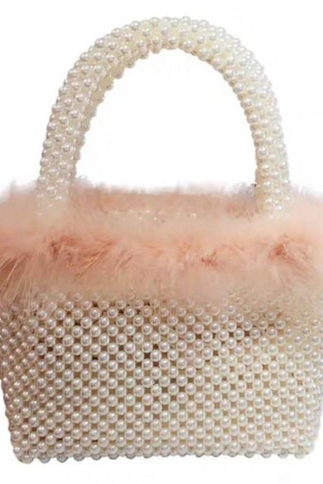 Pink Hadmade Customize Pearl Fur Crossbody Satchel Bags