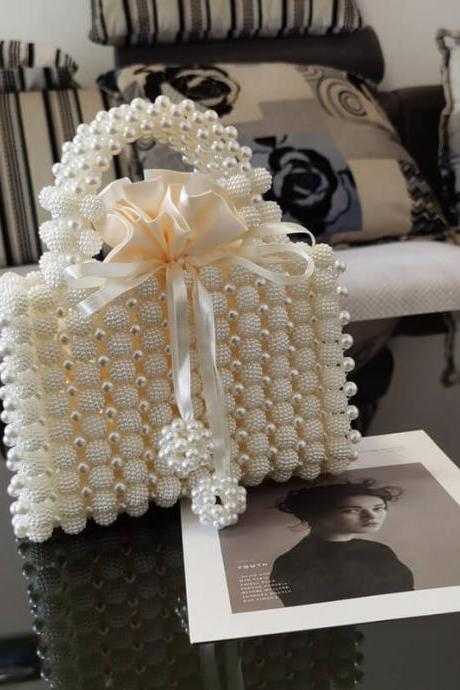 Color2# Cute Hadmade Customize Pearl Strap Satchel Box Bags