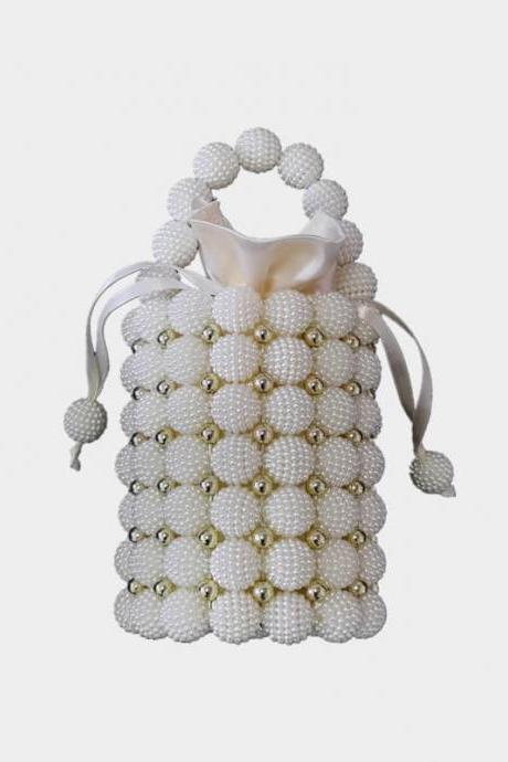 Hadmade Customize Pearl Satchel Strap Knit Bucket Bags