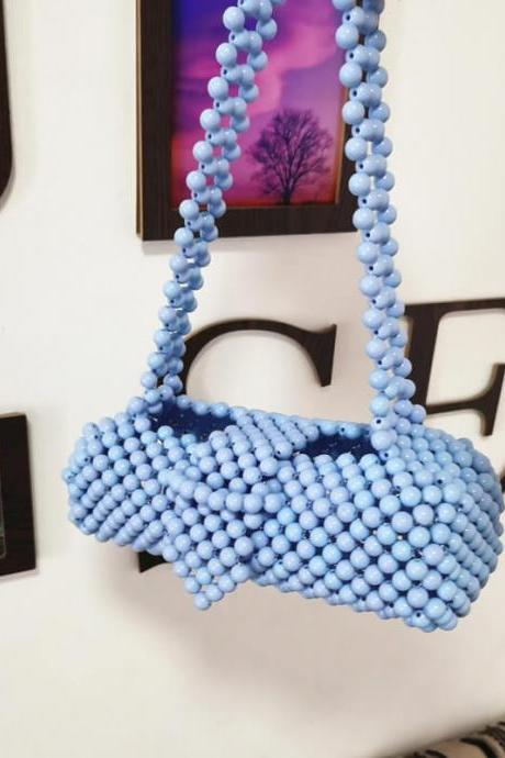 Blue Retro Fashion Hadmade Customize Pearl Baguette Bags