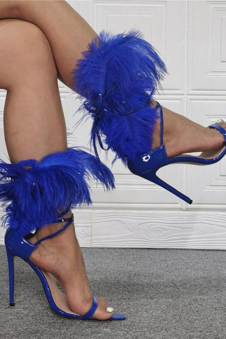Blue Fashion Patent Leather Fur Open Toe High Heel Sandals